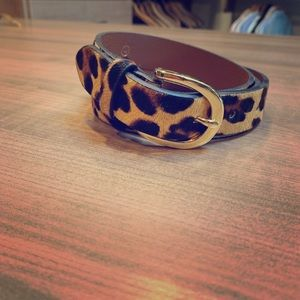 JCrew leopard belt, gold buckle